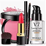 BIOAQUA V7 Toning Cream Powder Eyebrow Pencil Lipstick Makeup Moisturizing Shiny Wet Multifunctional 4PCS-SET 30ml + 5g + B024 + B011
