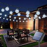 Solar Lichterkette Außen, 100er LED Kristallkugeln 22 Meter Solar Kupferdraht Lichterkette, 8 Modi Wasserdicht Solarlichterkette Aussen für Garten, Bäume, Schlafzimmer, Hochzeiten, Partys(Weiß)