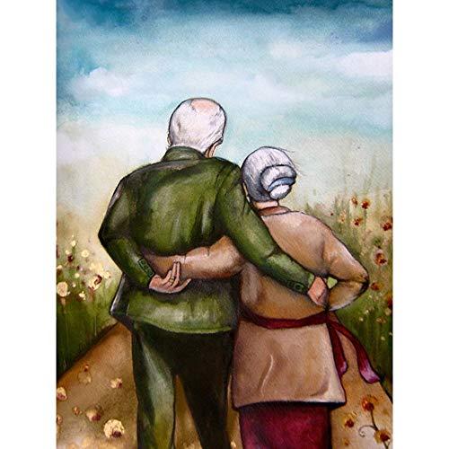 5D-DIY- Pintura de diamanteb Pintura decorativa viejos amantes caminando regalos. Decoración de bricolaje pintura de diamante para adultos Kit De Pintura De Diamantes,niño Dor50x70cm(Sin marco)