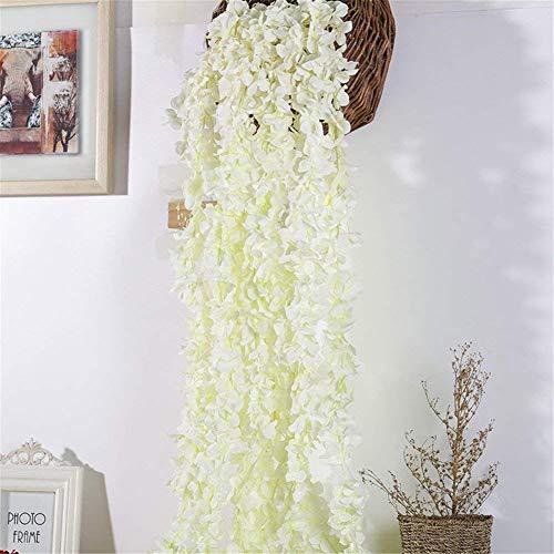 Homcomodar Fiori Artificiali Ghirlanda di Fiori di Ortensia Finta 4pc Appeso a Vite per matrimonio Home Hotel Office Party Garden Craft Art Décor (bianco latte)