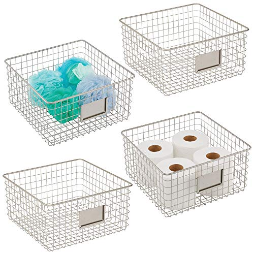mDesign Farmhouse Decor - Cesta organizadora de alambre de metal para baño, para armarios, estantes, encimeras, dormitorio, cocina, lavandería, armario, garaje, 4 unidades, satén