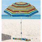 Tommy Bahama - Sombrilla Multicolor con ancla de arena 2,1 m de diámetro y 2,45 m de altura