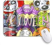 VAMIX マウスパッド 個性的 おしゃれ 柔軟 かわいい ゴム製裏面 ゲーミングマウスパッド PC ノートパソコン オフィス用 デスクマット 滑り止め 耐久性が良い おもしろいパターン (ハロウィンキッズ漫画パンプキンコウモリピエロゴーストフェイステーマ)