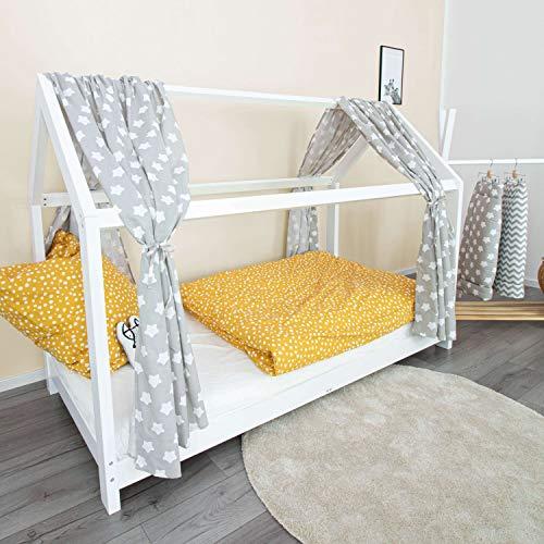 PuckDaddy Hausbett Vorhang Finja – 146 x 298 cm, 2er-Set Stoffhimmel aus 100% Baumwolle in Grau mit Sterne Muster, hochwertiger Bettvorhang fürs Kinderzimmer