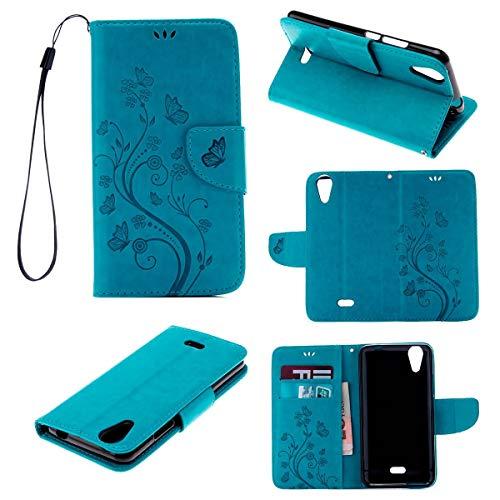 JEEXIA® Funda para Wiko Rainbow Jam 4G, Moda Flip Wallet Case Cover Retro PU Cuero con Soporte Cubierta Protectora Hierba Mariposa Patrón - Azul