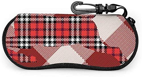 Patrón de cuadros rojos y blancos Reno Gafas de sol Estuche blando Estuche para anteojos con cremallera Soporte protector con clip para cinturón