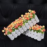 XuanMax 2pcs Roses Kunstblumen mit Zaun Kunstpflanzen mit Topf Künstliche Blumen im Pot Künstliche Pflanzen Gefälschte Topfpflanzen Bonsai Dekoartikel Ornamente 30 * 7.5 * 12cm – Farben Mischen - 4