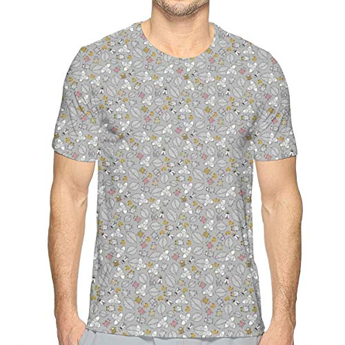 Mens 3D Printed T Shirts,Autumn Forest Concept with Fallen Leaves and Raw Organic Hazelnuts L
