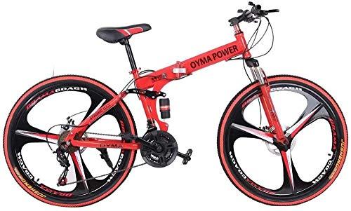 SYCY Bicicleta de montaña de 26 Pulgadas, Bicicletas Plegables Shimanos para Hombres y Mujeres, Frenos de Disco de suspensión Completa de 21 velocidades, Bicicletas de Crucero de Playa-Rojo