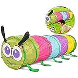 xxz Pop-up-Kinder Spielen Tunnel, niedliche Caterpillar-Kriechtunnel mit Tragetasche Leicht tragbar, für Park Backyard Fun Girls Boys