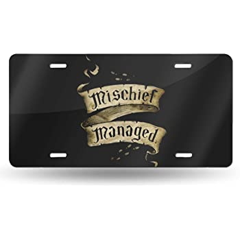 Fairyshop Mischief Managed Car License Plate Frame 2 Holes Lettering Black Metal Footprint Car Tag Holder