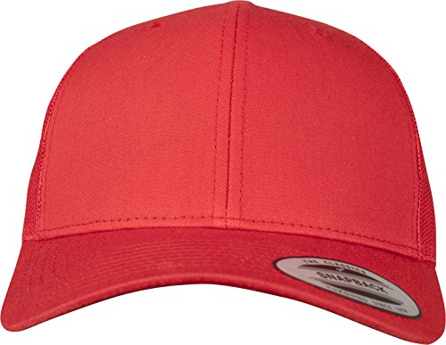 Flexfit Snapback Unisex Baseball-Mütze | Trucker Kappe Mesh Basecap, Rot (red), Gr. One size