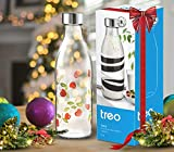 Treo by Milton Ivory Premium Glass Printed Bottle 1000 ml, 1 Pc, Red Cherries