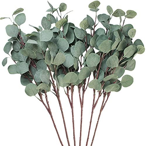 Seanmi Künstlich Eukalyptus, 6 Zweige Fake Eukalyptus Pflanze, Unechte Blätter, Deko Pflanze (65 cm, Grau)