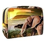 PVC Neceser de Viaje para Maquillaje Atardecer Elefante Animal Organizador Grande para Mujeres y niñas 7.3x3x5.1 Inch