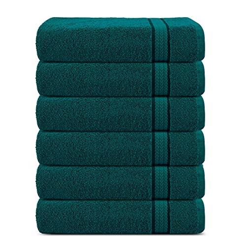 Juego de 6 toallas de algodón de lujo súper suaves de 600 g/m2, 30 x 30 cm, de Sweet Needle, de color Teal - toallas de doble capa, gruesas, absorbentes, de secado rápido