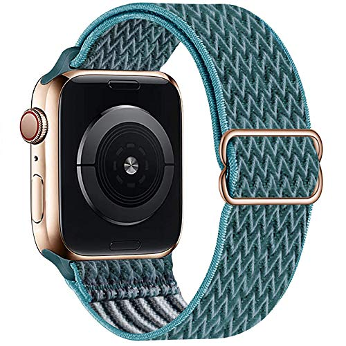 OHCBOOGIE Stretchy Solo Loop Strap Compatible with Apple Watch Bands 38mm 40mm,Adjustable Stretch Braided Elastics Weave Nylon Women Men Wristband Compatible with iWatch Series 6/5/4/3/2/1 SE