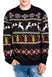 Tipsy Elves Men's Deer with Beer Ugly Christmas Sweater Black Holiday Pullover Size XL