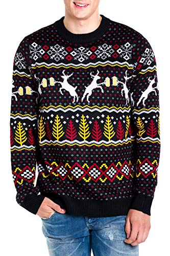 Tipsy Elves Men's Deer with Beer Christmas Sweater - Black Caribrew Ugly Christmas Sweater: X-Large
