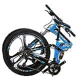 JMC Mountain Bike G4 26 Inches 21 Speed Dual Suspension Adult Folding Bicycle 3-Spoke Wheels Blue
