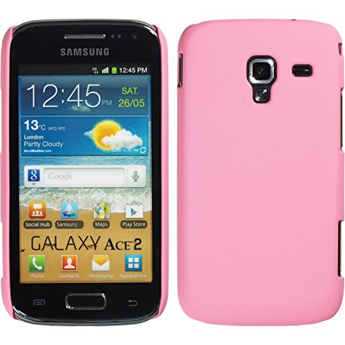 PhoneNatic Custodia Rigida Compatibile con Samsung Galaxy Ace 2 - gommata Rosa - Cover + Pellicola Protettiva