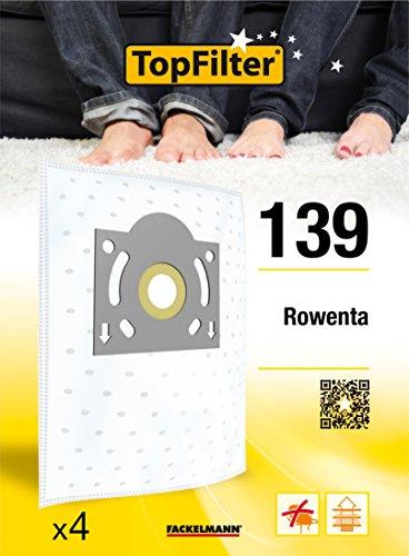 TopFilter 139, 4 sacs aspirateur pour Rowenta boîte de sacs d'aspiration en non-tissé, 4 sacs à poussière (30 x 26 x 0,1 cm)