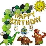 KSHYE 66pcs / Set Dinosaurio Decoraciones de Fiesta de cumpleaños Niños Niño Verde Globo Guirnalda Dinosaurio Tema Decoración de cumpleaños Arche Ballon