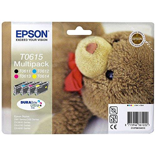 Epson Original C13T06154010 Teddybär, wisch- und wasserfeste Tinte (Multipack, 4-farbig) (CYMK)