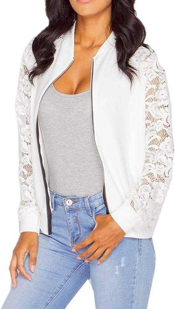 LISTHA Lace Long Sleeve Zip Up Jackets Women Short Bomber Coat Casual Outwear