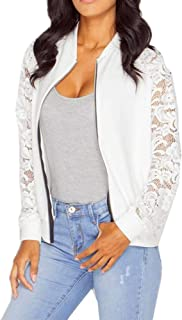 Lace Long Sleeve Zip Up Jackets Women Short Bomber Coat Casual Outwear
