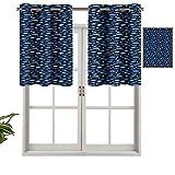Hiiiman Cenefas de cortina opacas, aisladas térmicamente, con ojales cortos, siluetas de acuario, juego de 2, 137 x 91 cm para cocina y baño