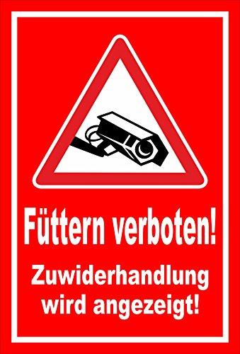 Melis Folienwerkstatt Schild - Füttern verboten Video-überwachung 30x20cm Bohrl. 3mm Hartschaum S00039-008-D 20 VAR.
