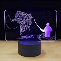 USB7色変更クリエイティブ3DLedビジュアル魚照明器具雰囲気デスクランプノベルティ釣り愛好家ギフト常夜灯