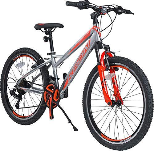 KRON Vortex 4.0 Hardtail Jugend Kinder Fahrrad 20 Zoll von 6-9 Jahre | 21 Gang Shimano Schaltung, V-Bremse, Federgabel, 11 Zoll Rahmen | Kids Mountainbike MTB | Grau Orange