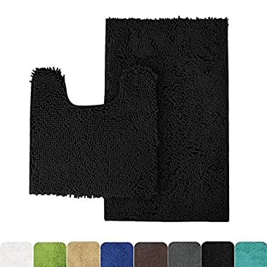 MAYSHINE Bathroom rug toilet sets and Shaggy Non slip Machine washable Soft Microfiber bath Contour mat (Black,32  20 /20  20  U-Shaped) …