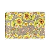 Alfombra de baño de otoño para decoración del hogar, color amarillo, marrón, hojas de girasol, otoño, bohemio, alfombra de ducha de 15.7 x 23.6 pulgadas