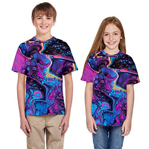 Moneycom  Camiseta para adolescente de la edad, nia, nia, nia, verano, 3D, ropa casual, camiseta para nio, unisex, algodn, disfraz de cumpleaos chic morado 7-8 Aos