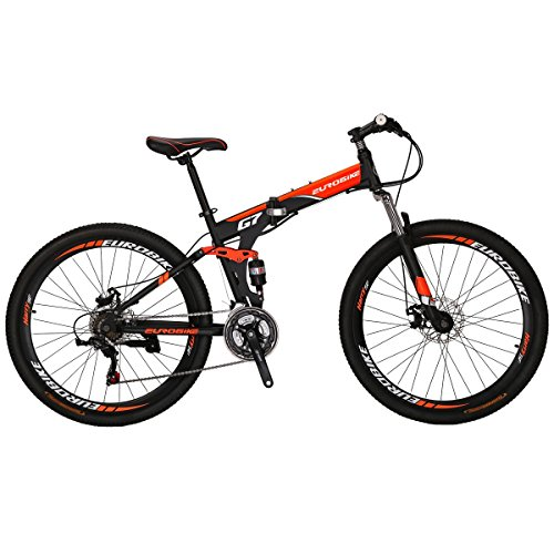 Eurobike G7 Mountain Bike 21 Speed Steel Frame 27.5 Inches Spoke Wheels Dual Suspension Folding Bike Blackorange