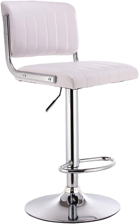 Yan Fei European Bar Chair Backrest High Stool High Stool Lift Chair Bar Stool Home Bar Chair Beauty Chair Hairdressing Chair Comfortable Stools (color   White, Edition   A)