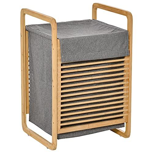 HOMCOM Cesto para Ropa Sucia de Bambú Cesto Rectangular de Ropa Portátil con Tapa y Bolsa Extraíble Mueble de Baño Dormitorio 40x35,5x60,5 cm Color Natural y Gris