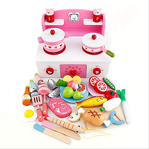 JW-YZWJ Kinder Simulation Obst und Gemüse-Küche-Spielzeug, Holzherd Early Education Educational Spielzeug-Set,B