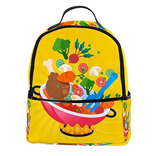 KAMEARI Rucksack für Schule, lustiger Cartoon-Gemüsetopf, Gasherd, lässiger Tagesrucksack für Reisen, mit Seitentaschen für Flaschen