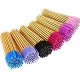 eBoot 300 Pieces Colored Disposable Mascara Wands Eyelash Eye Lash Brush Makeup Applicators Kit (Gold Handle, Multicolor Head)