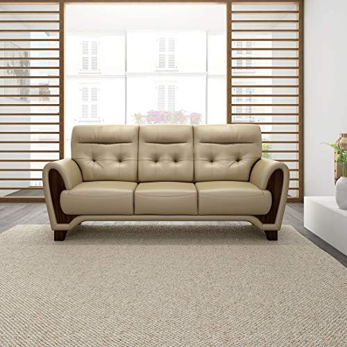 Durian Radiance Leather 3 Seater Settee Sofa, Mocha Brown