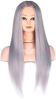 شعر مستعار طويل حريري مستقيم مقاوم للحرارة للنساء من موتي كولور، موديل: YUXUJSA (اللون: رمادي، المقاس: مجاني)