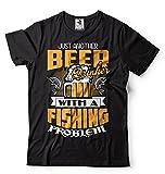 Silk Road Tees Camiseta Pesca Masculino Divertido del Bebedor de Cerveza Pescador Camiseta Large Negro