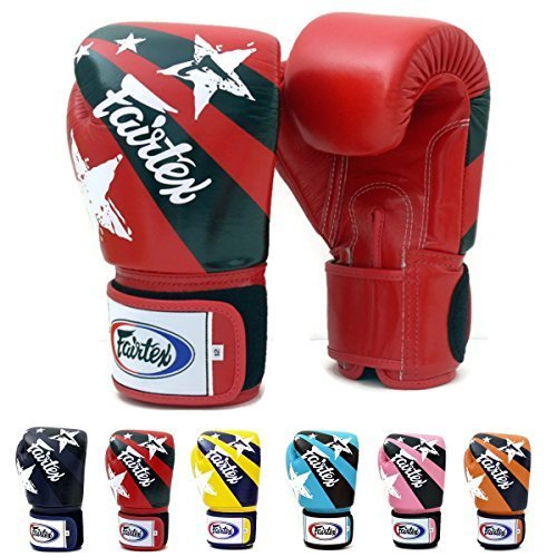 Fairtex Muay Thai Bokshandschoenen BGV1 Kleur: Zwart Blauw Rood Klassiek Bruin Emerald Falcon Roze Geel Oranje Thai Pride USA Vlag Grootte: 10 12 14 16 oz Training & Sparring Alle Doel Handschoenen voor Kick Boksen MMA K1 Tight Fit Design (Red Nation Print, 10 oz) door Fairtex