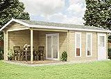 Alpholz Gartenhaus Nürnburg-44 aus Massiv-Holz   Gerätehaus mit 44 mm Wandstärke   Garten Holzhaus inklusive Montagematerial   Geräteschuppen Größe: 734 x 380 cm   Satteldach