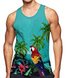 RAISEVERN Men's Tank Tops Green Tropical Workout Sleeveless Tee Cool Hawaiian Jungle Parrot Athletic Training Undershirts Colorful Gym Running Shirts Fitness Vest