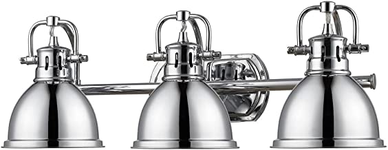 Golden Lighting 3602-BA3 CH Three Light Bath Vanity, Chrome
